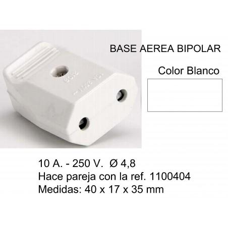 BASE AEREA BIPOLAR 10A 250V OBTURADOR EN BLISTER BLANCA