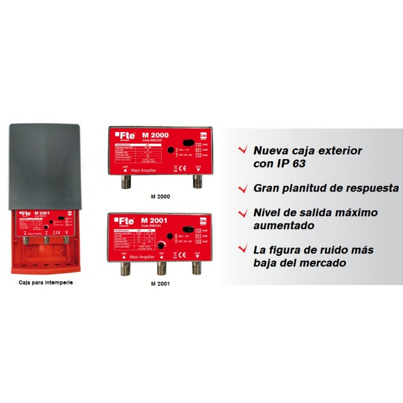 AMPLIFICADOR DE MASTIL FTE M2000, 1 ENTRADA UHF