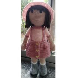 Amigurumi pink dress doll