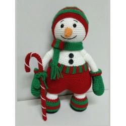 Muñeco nieve bastón Navidad