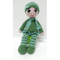 Amigurumi green suit doll