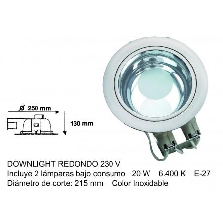 DOWNLIGHT REDONDO 2 X 20W E27 ACERO INOXIDABLE