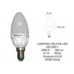 LAMPARA LED VELA 4.8W E14...