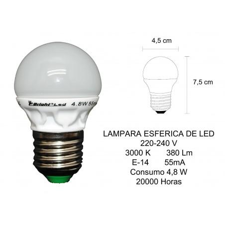 LAMPARA LED ESFERICA 380LM E27 3000K 4.8W 2601241