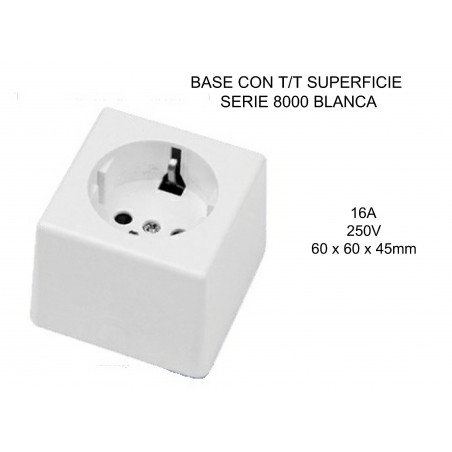 BASE CON T/T 10-16A BLANCA 3608023 SERIE8000